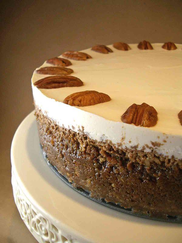 Bourbon Pumpkin Cheesecake With Gingersnap Pecan Crust